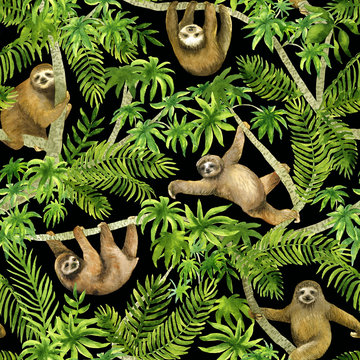 Sloth on palm. Seamless watercolor pattern. Tropical summer background