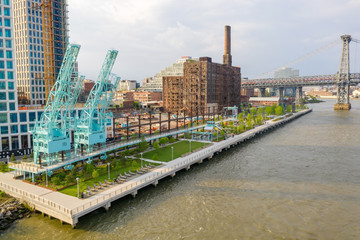 Fotomurales - Domino Park in Brooklyn, Williamsburg, Old sugar factory. Aerial view.