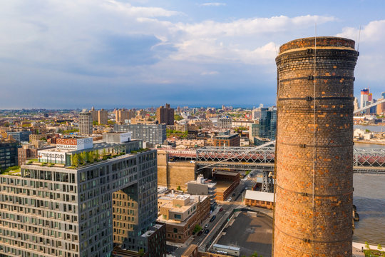 Domino Park in Brooklyn, Williamsburg, Old sugar factory. Aerial view.
