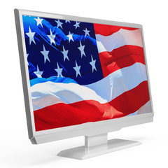 LED LCD tv with american USA flag on the screen isolated on white background. 3D rendering