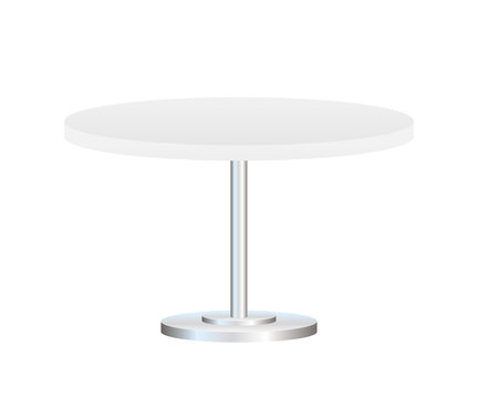 Realistic empty round table with metal stand isolated on white background. Vector stock illustration.