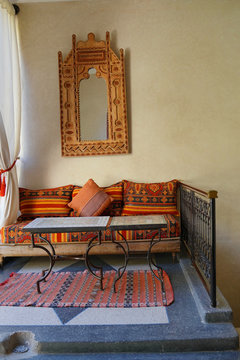 Traditional Moroccan living space in Marrakech riad
