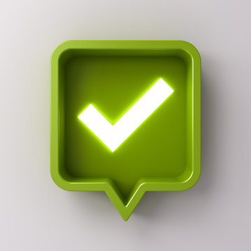 3d social media notification neon light check mark icon in green rounded square pin isolated on white background with shadow 3D rendering