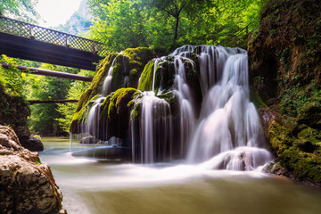 Long exposure image of Bigar Falls from Romania in a sunny day