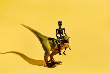 Skeleton riding dinosaur on yellow background