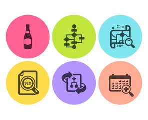 Beer bottle, Block diagram and Search map icons simple set. Technical algorithm, Seo file and Medical calendar signs. Brewery, Algorithm path. Business set. Flat beer bottle icon. Circle button
