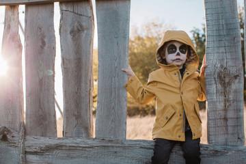 Halloween portrait of little boy with skull make up
