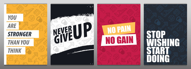 Set of Fitness Gym Motivation Quote. Hand draw doodle background.