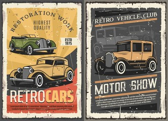 Retro cars restoration garage, vintage motor show