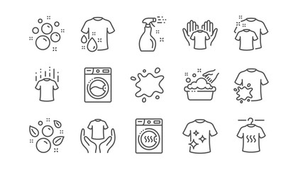 Laundry line icons. Dryer, Washing machine and dirt shirt. Laundromat, hand washing, laundry service icons. Linear set. Vector