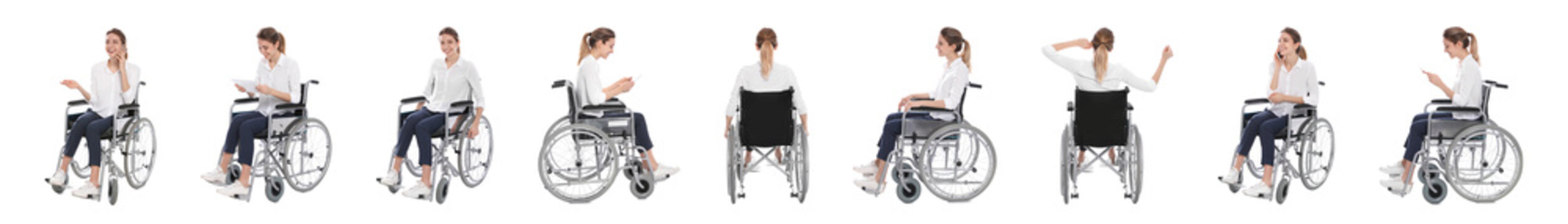 Set of beautiful woman in wheelchair on white background. Banner design