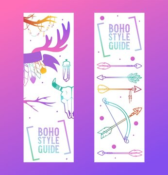 Boho style guide set of banners vector illustration. Scull, plants such as flowers with leaves, branch, feather with ornament, ethnic tribal eyes head. Free spirit bohemian wild soul.