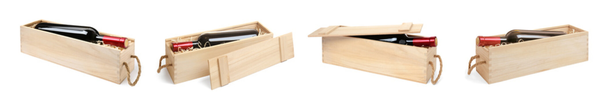 Set of wooden crates with wine on white background