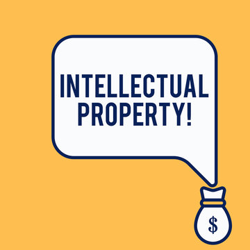 Word writing text Intellectual Property. Business photo showcasing Protect from Unauthorized use Patented work or Idea Isolated front view speech bubble pointing down dollar USD money bag icon
