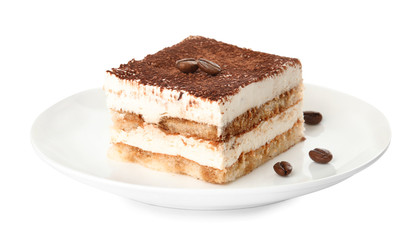 Plate of tiramisu cake isolated on white