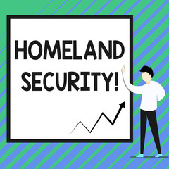 Conceptual hand writing showing Homeland Security. Concept meaning federal agency designed to protect the USA against threats Zigzag arrow line diagram chart present in board by lecturer