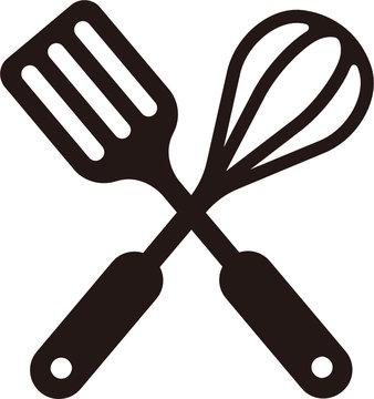 (SVG) kitchen utensils icon (spatula & whisk)