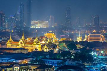 Keuken foto achterwand Bangkok Wat Phra Keaw, Wat Pho and Grand palace at night in Bangkok, Thailand