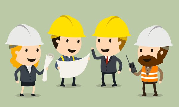 Construction Site Inspection, Vector illustration, Safety and accident, Industrial safety cartoon