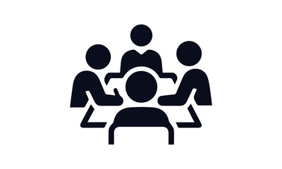 boardroom meeting icon vector black and white  business