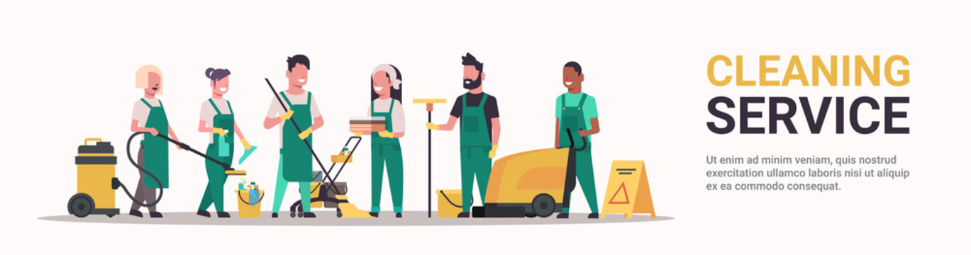 janitors team cleaning service concept male female mix race cleaners in uniform working together with professional equipment flat full length horizontal banner copy space