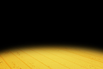 Dark vivid yellow Plank wood floor texture perspective background for display or montage of product,Mock up template for your design