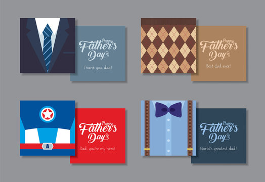 Happy Father's Day printable template for label, tag or greeting card. Set of men fashion or clothes (suit, tie, sweater, bow tie & suspenders) in flat vector design.