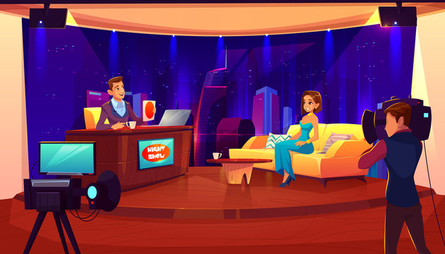 Tv night show with guest. Female celebrity giving interview to television presenter in broadcasting studio, cameraman, video camera shooting crew, stage, light equipment. Cartoon vector illustration