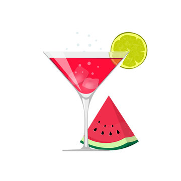 Cocktail drink glass vector illustration with ice and watermelon slice isolated on white flat cartoon design, fruit red mixed beverage icon clipart