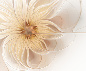 Abstract fractal light beige flower