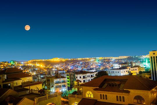 Night view of Bethlehem, Palestine.