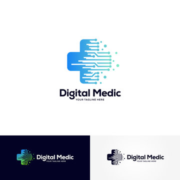 digital medic logo designs template, healthcare logo designs