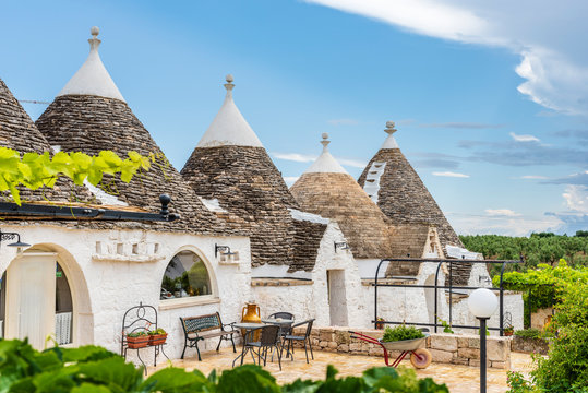 Trulli of the Itria valley. Details in the sky. Puglia, Italy.