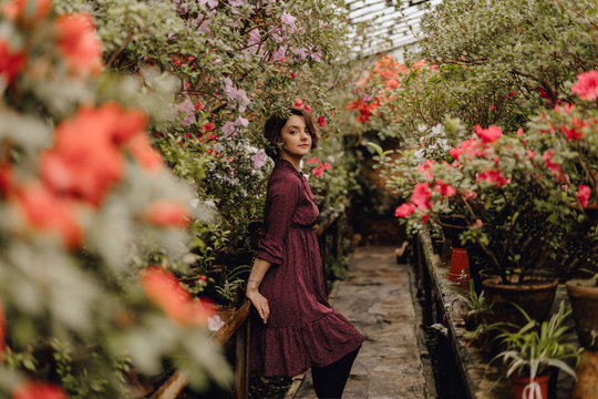 Beautiful Caucasian Lady Posing in Blooming Garden. Cute Girl with Brown Wavy Hair Wearing Dress. Flower Pots around Hothouse. Tenderness Female Model Photoshoot in Floral Conservatory