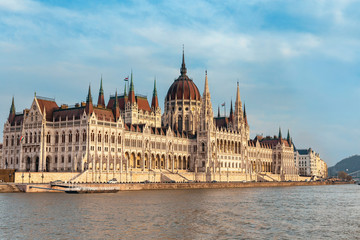 view from the Danube River to the famous building of the Hungarian Parliament