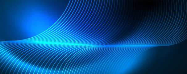 Trendy neon blue abstract design with waves and circles. Neon light glowing effect. Abstract digital background. Wall mural