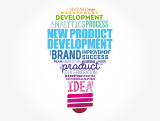 New product development light bulb word cloud collage, business concept background