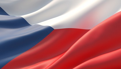 Waved highly detailed close-up flag of Czech Republic. 3D illustration.