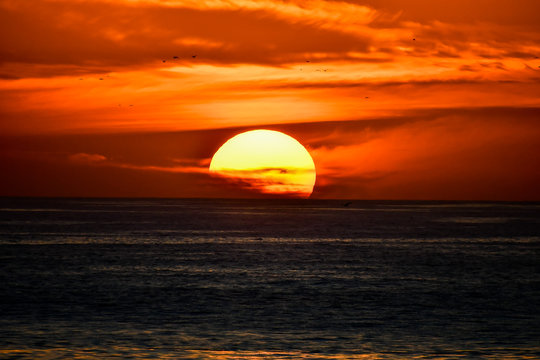 sunset over the sea, photo as background