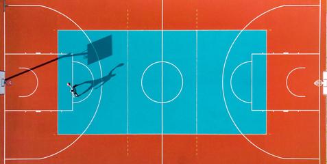 Man Play Basketball, Creative Aerial Top Down Drone View