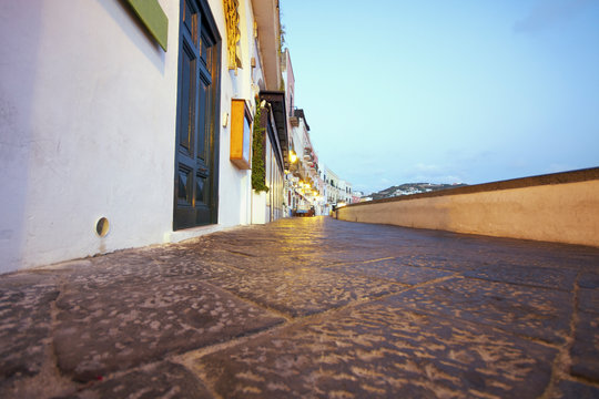 Low view on Ponza's central street. Lazio. Italy