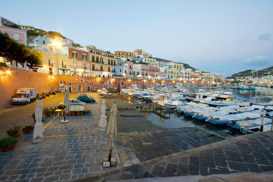city of Ponza island and  harbour before sunrise. Italy
