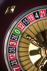 Close Up View on Roulette Drum with Lucky Numbers, Casino Theme
