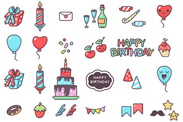 Happy birthday party elements vector cartoon set isolated on a white background.