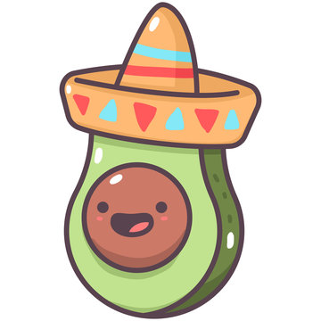 Cute avocado in mexican hat vector cartoon fruit character isolated on a white background.