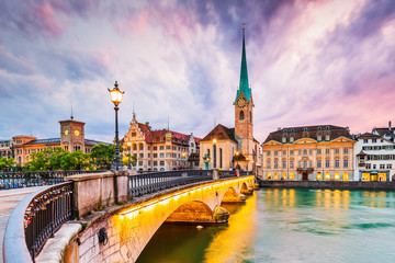 Zurich, Switzerland. View of the historic city center with famous Fraumunster Church