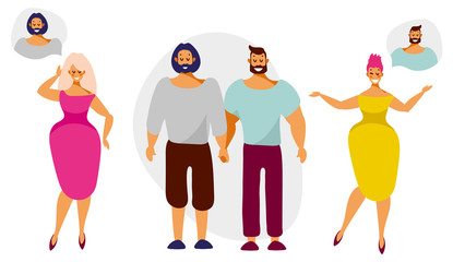 Beautiful women dream about relationships with men from lgbt couples. Vector illustration in flat cartoon style isolated on white background.