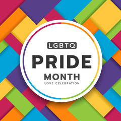 LGBTQ pride month circle banner on colorful rainbow Modern Square shapes texture background vector design