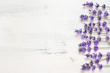 Lavender flowers on rustic white wood