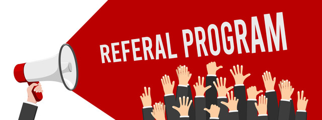 Refer a Friend Poster with Megaphone and Hand. Vector Illustration EPS10